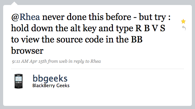 View Source Code on Blackberry