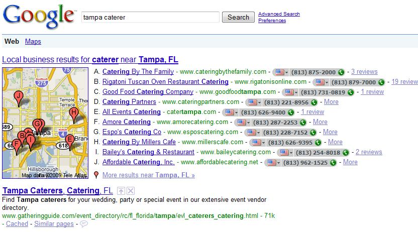 SERP Tampa Caterer