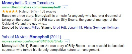 Moneyball rich snippets example