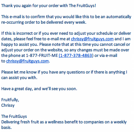 The FruitGuys Recurring Order Confirmation