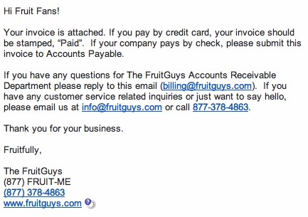 The FruitGuys Invoice