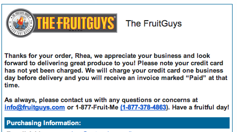 The FruitGuys Order Confirmation