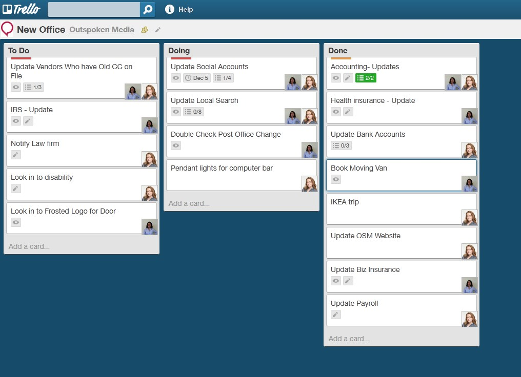 Outspoken Media's New Office Trello Board