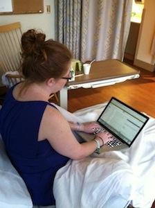 Rhea working in labor